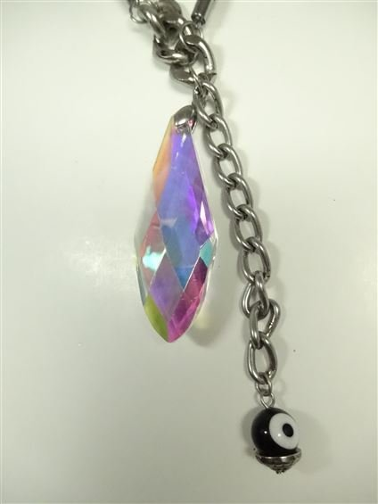 IRIDESCENT FACETED PENDANT NECKLACE, WITH EVIL EYE - 6