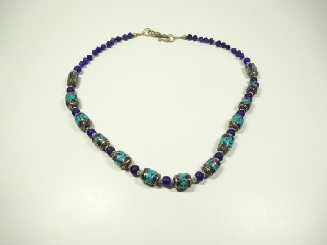TURQUOISE & LAPIS BEAD NECKLACE, CORAL ACCENT ON CLASP,
