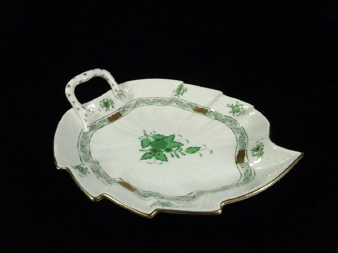 HEREND PORCELAIN LEAF DISH, CHINESE GREEN BOUQUET