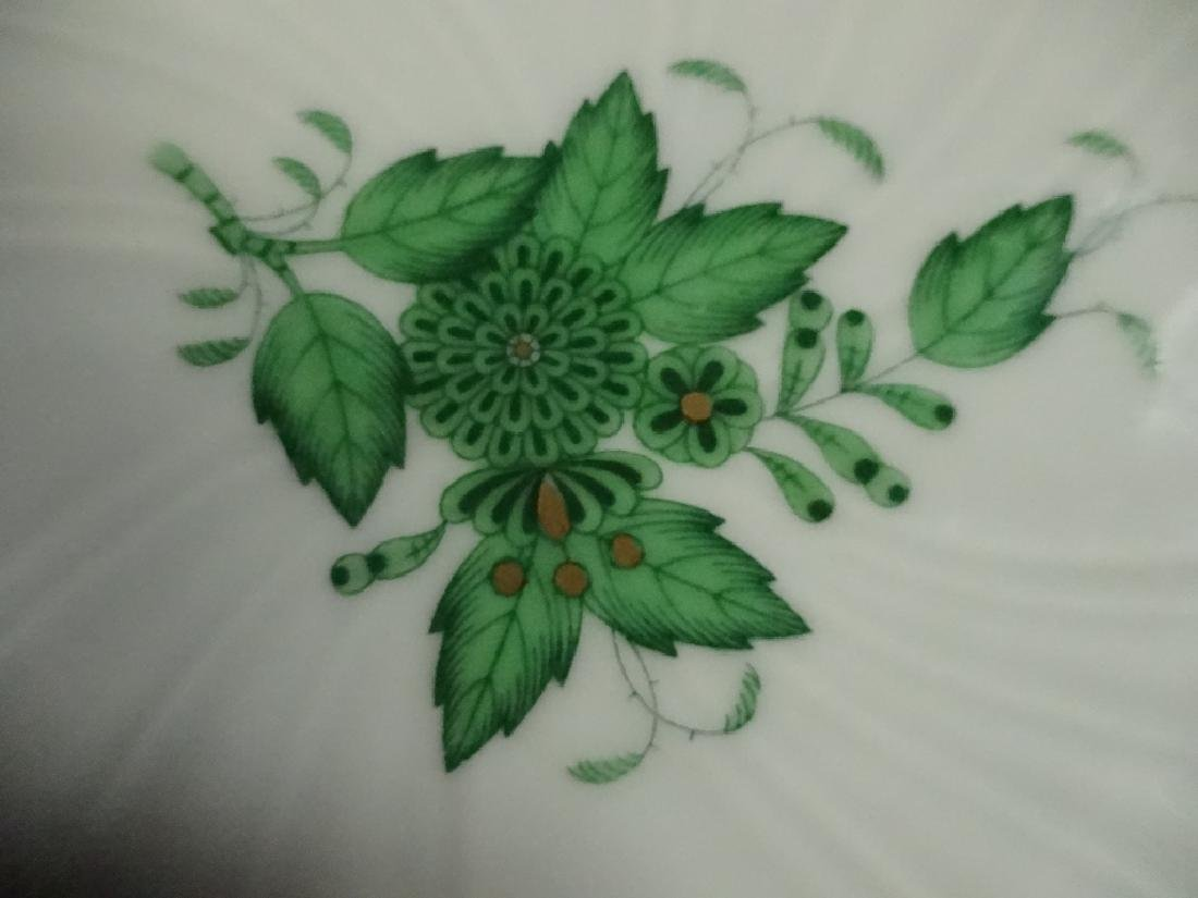 HEREND PORCELAIN LEAF DISH, CHINESE GREEN BOUQUET - 3