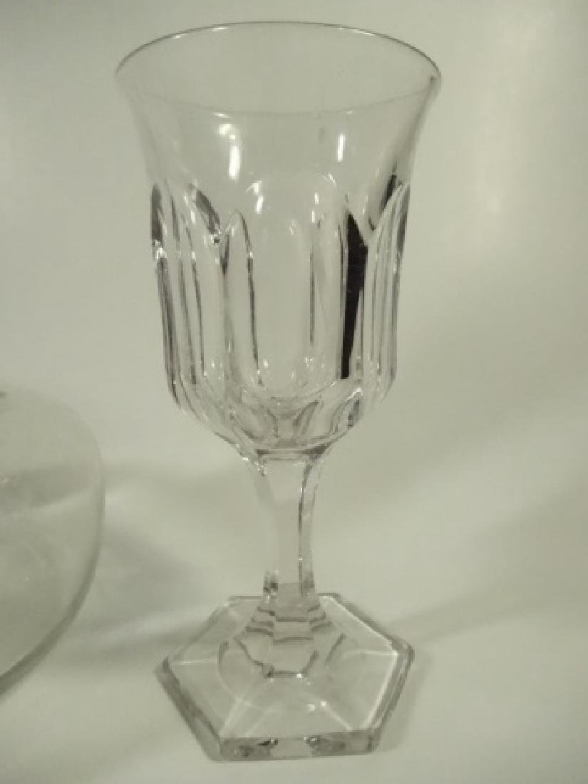 3 PC CRYSTAL DECANTER WITH 2 STEMWARE GLASSES, DECANTER - 3