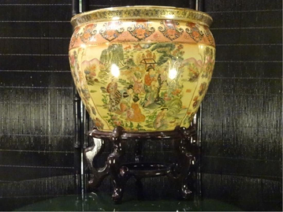 CHINESE PORCELAIN GOLDFISH BOWL, WOOD STAND, PAINTED
