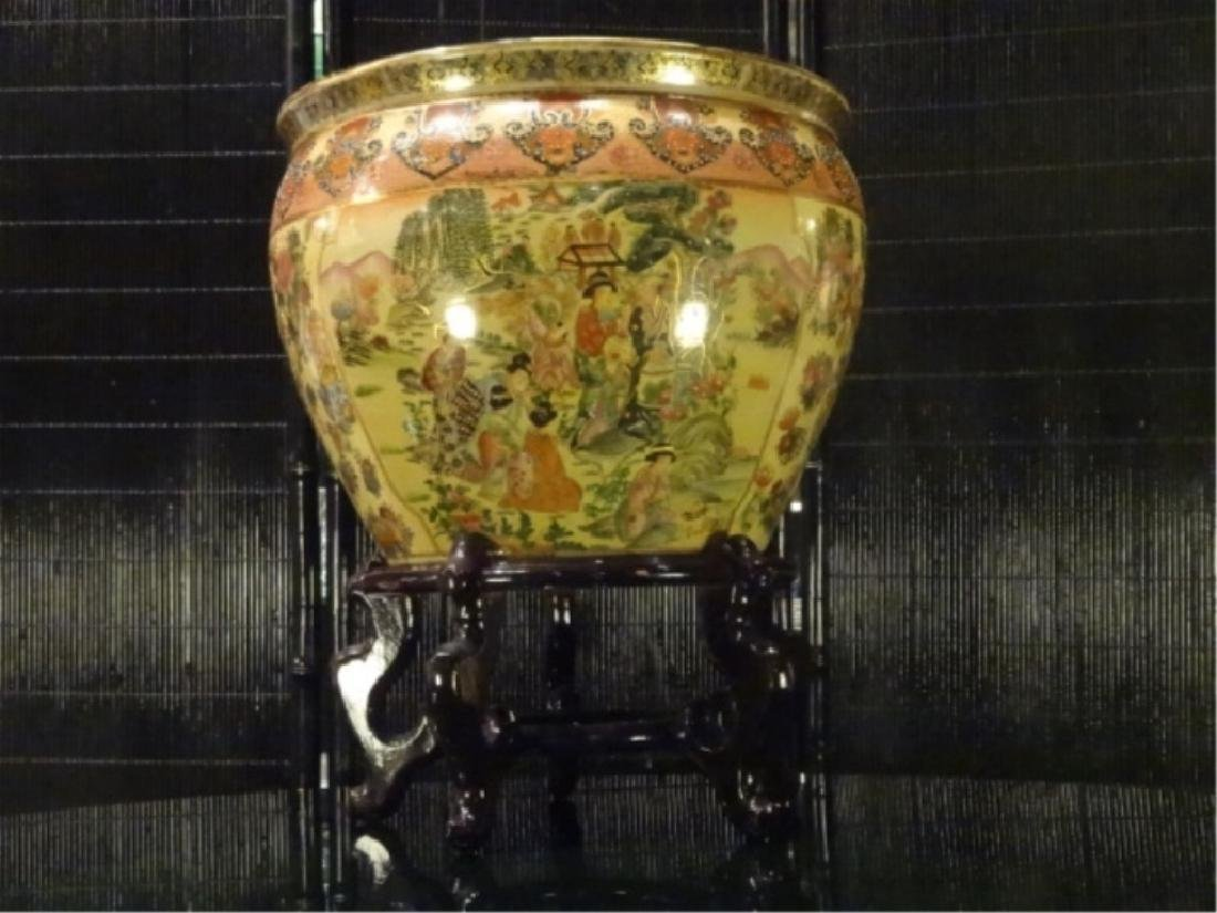 CHINESE PORCELAIN GOLDFISH BOWL, WOOD STAND, PAINTED - 2