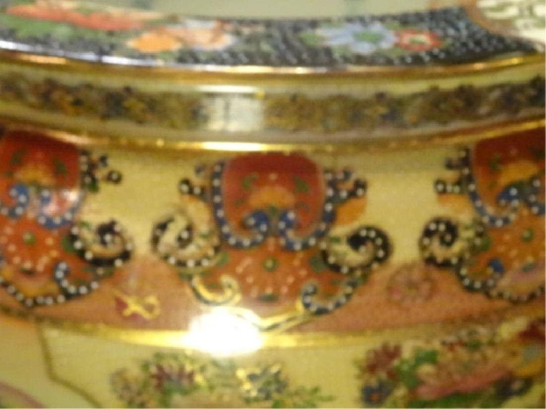 CHINESE PORCELAIN GOLDFISH BOWL, WOOD STAND, PAINTED - 5