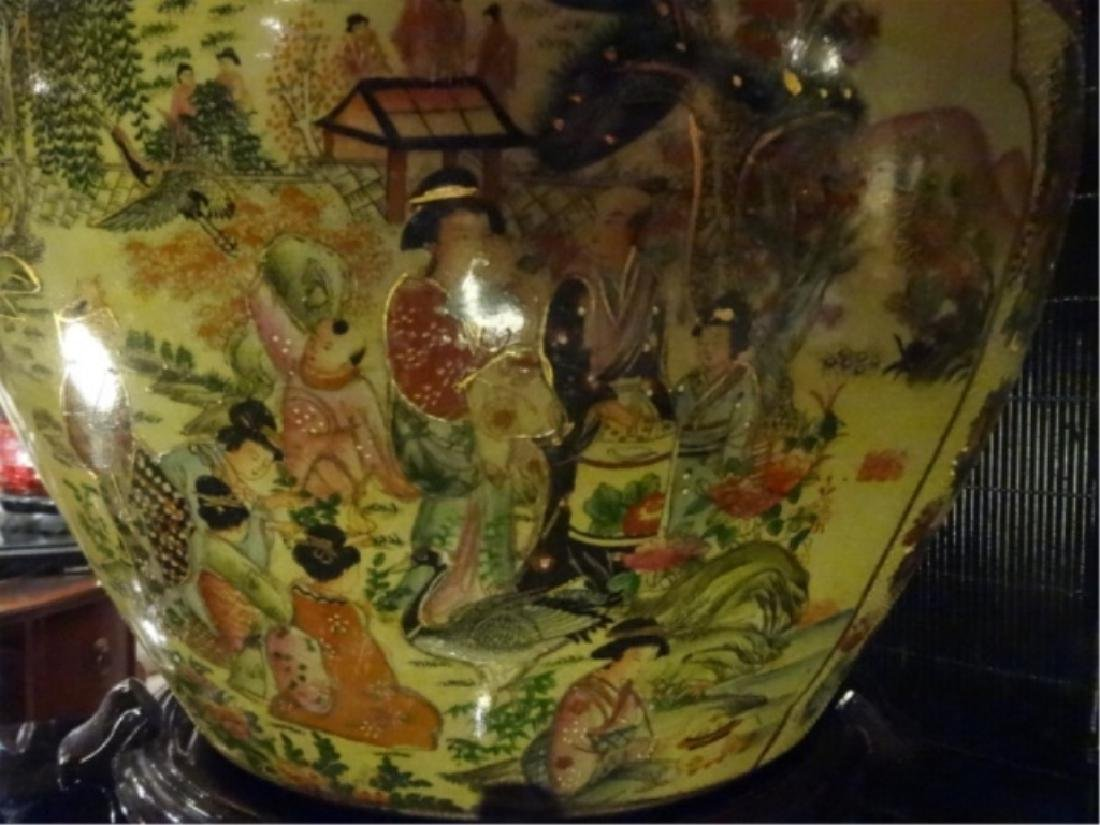 CHINESE PORCELAIN GOLDFISH BOWL, WOOD STAND, PAINTED - 7