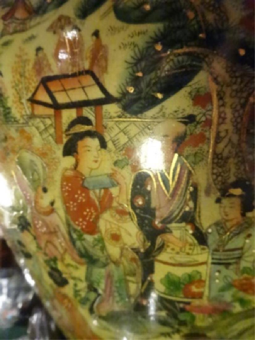 CHINESE PORCELAIN GOLDFISH BOWL, WOOD STAND, PAINTED - 8