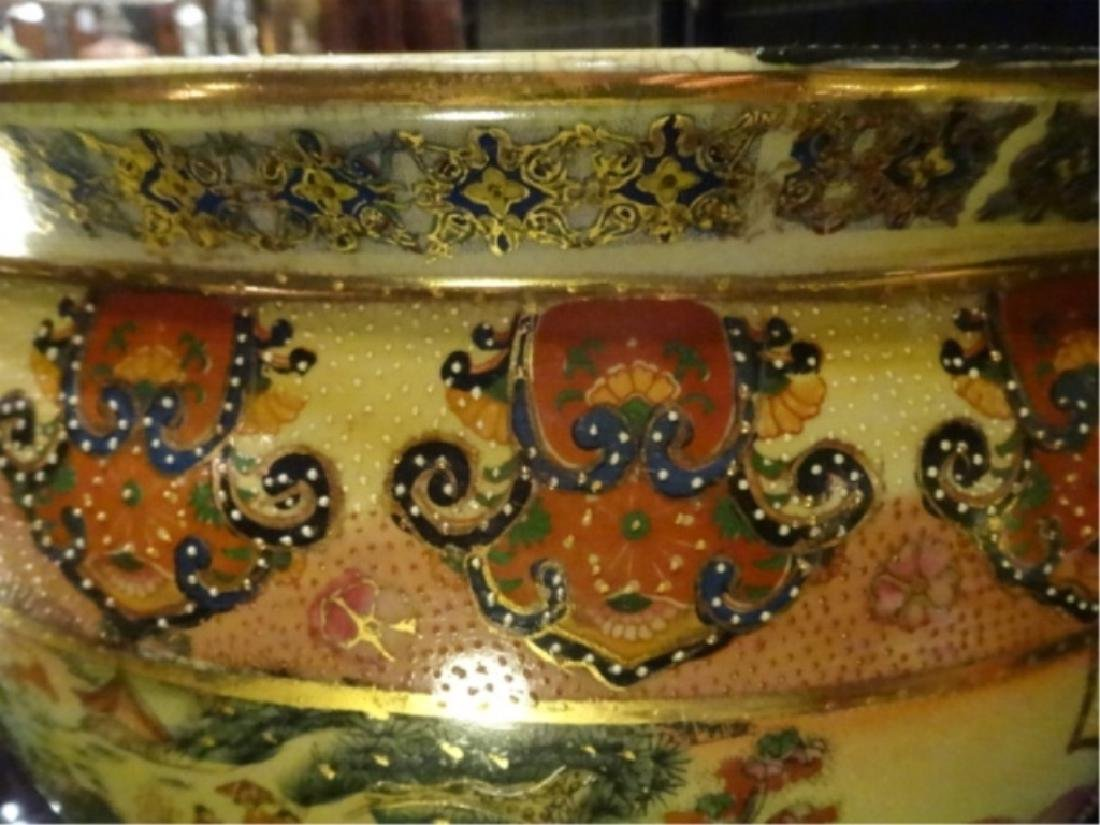 CHINESE PORCELAIN GOLDFISH BOWL, WOOD STAND, PAINTED - 9