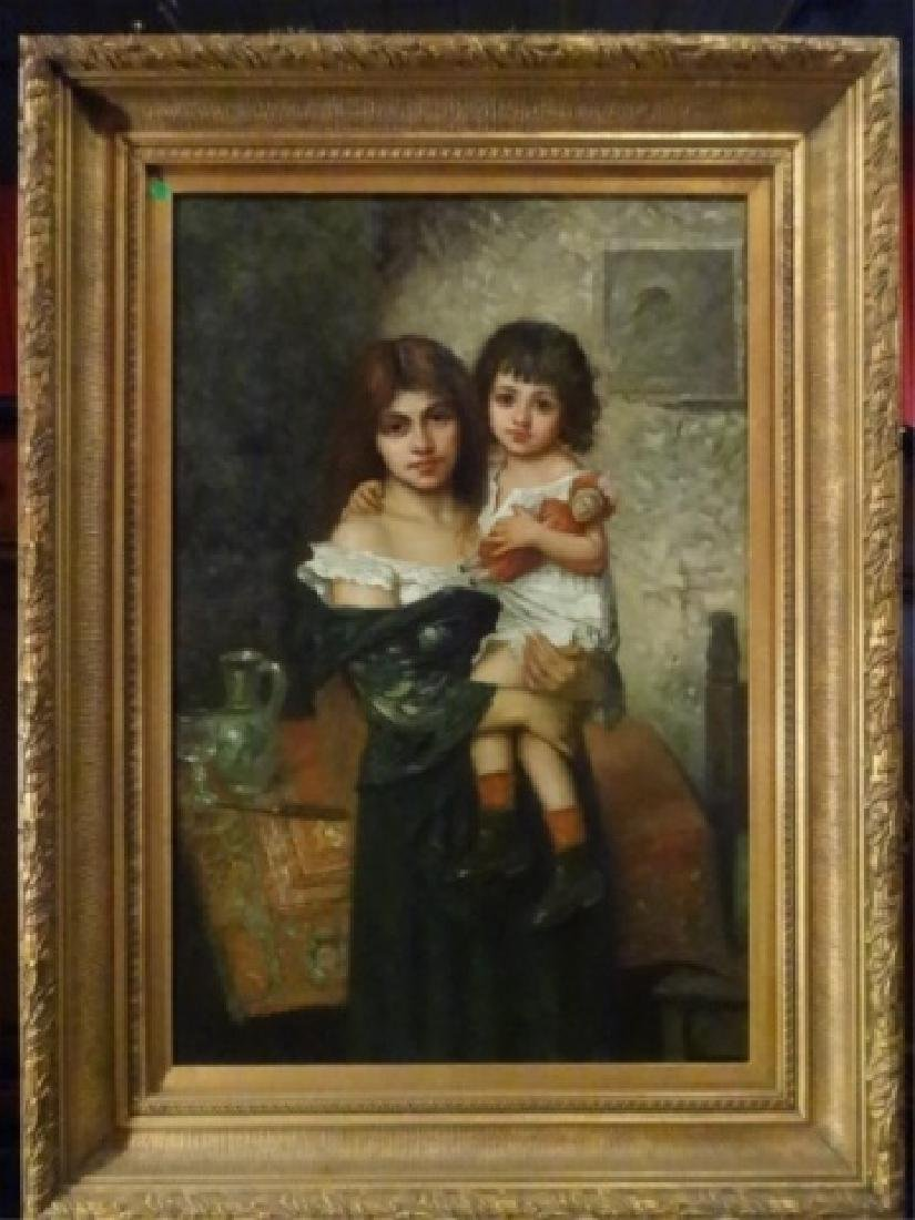 BOUGUEREAU STYLE OIL ON CANVAS PAINTING, GIRL HOLDING
