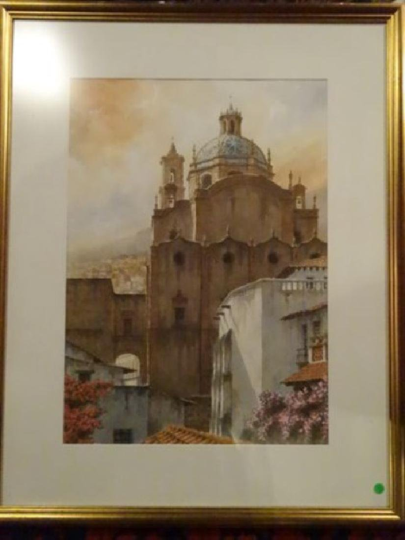 LARGE WATERCOLOR PAINTING, EUROPEAN CITY SCENE, SIGNED