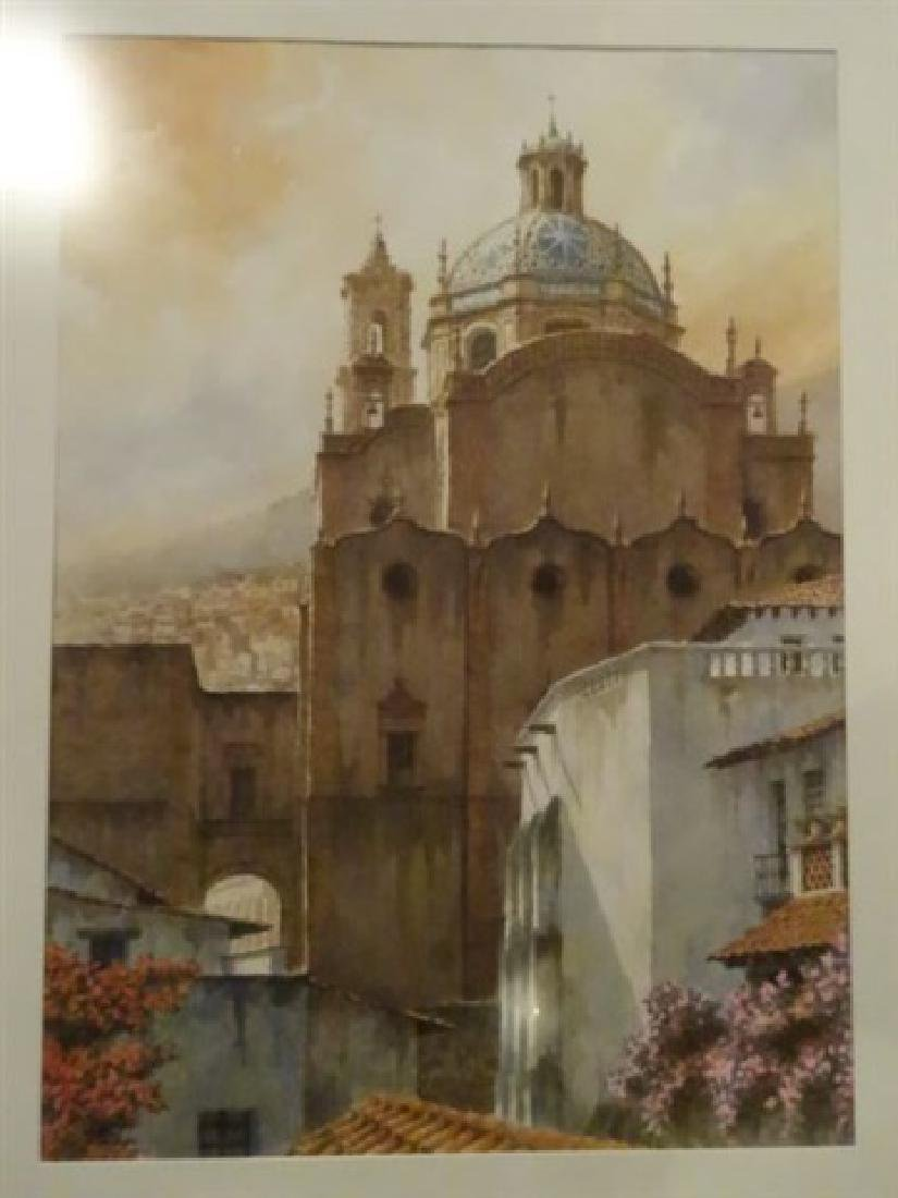 LARGE WATERCOLOR PAINTING, EUROPEAN CITY SCENE, SIGNED - 2