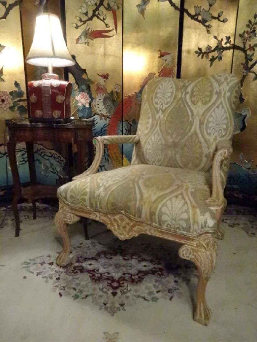 LOUIS XV STYLE OPEN ARM CHAIR, LIGHT FINISH WOOD FRAME,