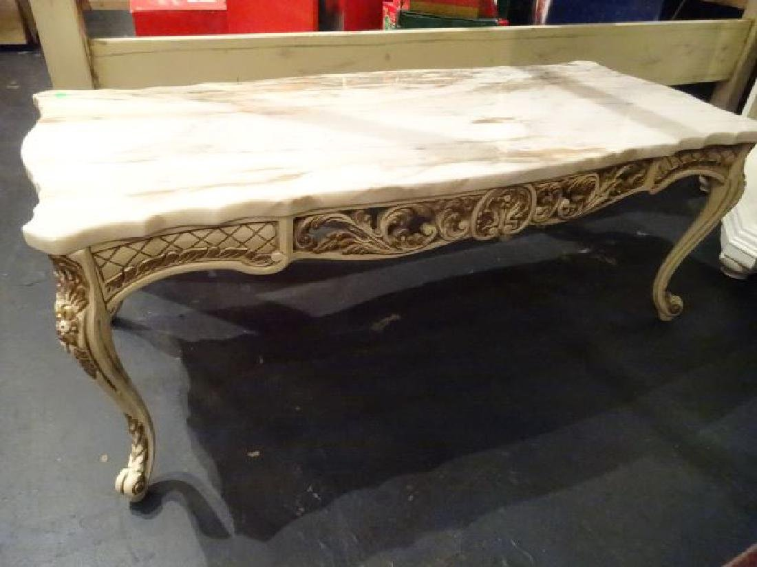 VINTAGE LOUIS XV STYLE COFFEE TABLE, WHITE MARBLE TOP,