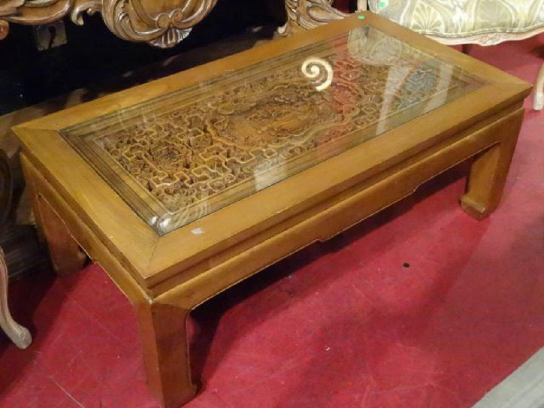 CHINESE CARVED WOOD COFFEE TABLE, ELABORATELY CARVED