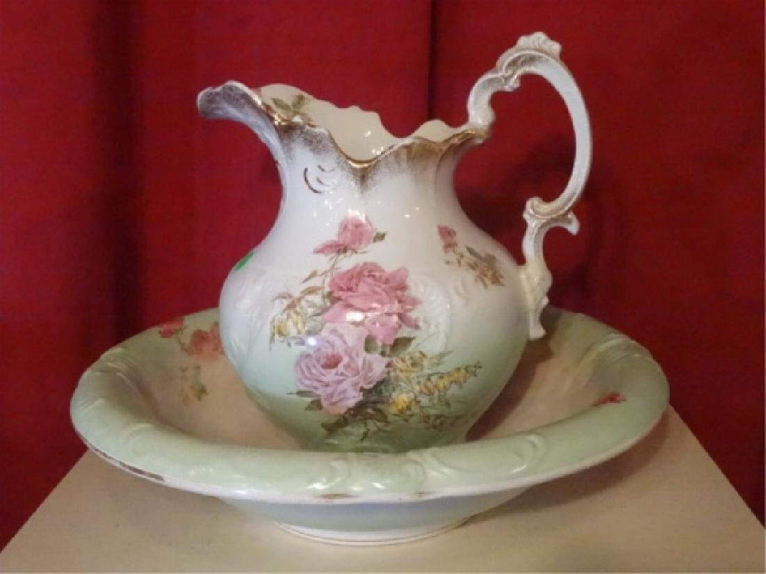 19TH C. ETRURIA MELLOR & CO PITCHER AND BOWL. FLORAL