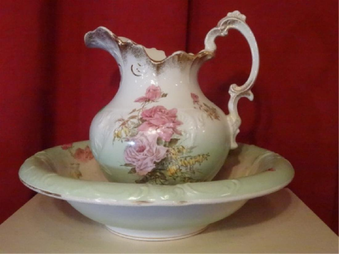 19TH C. ETRURIA MELLOR & CO PITCHER AND BOWL. FLORAL - 2