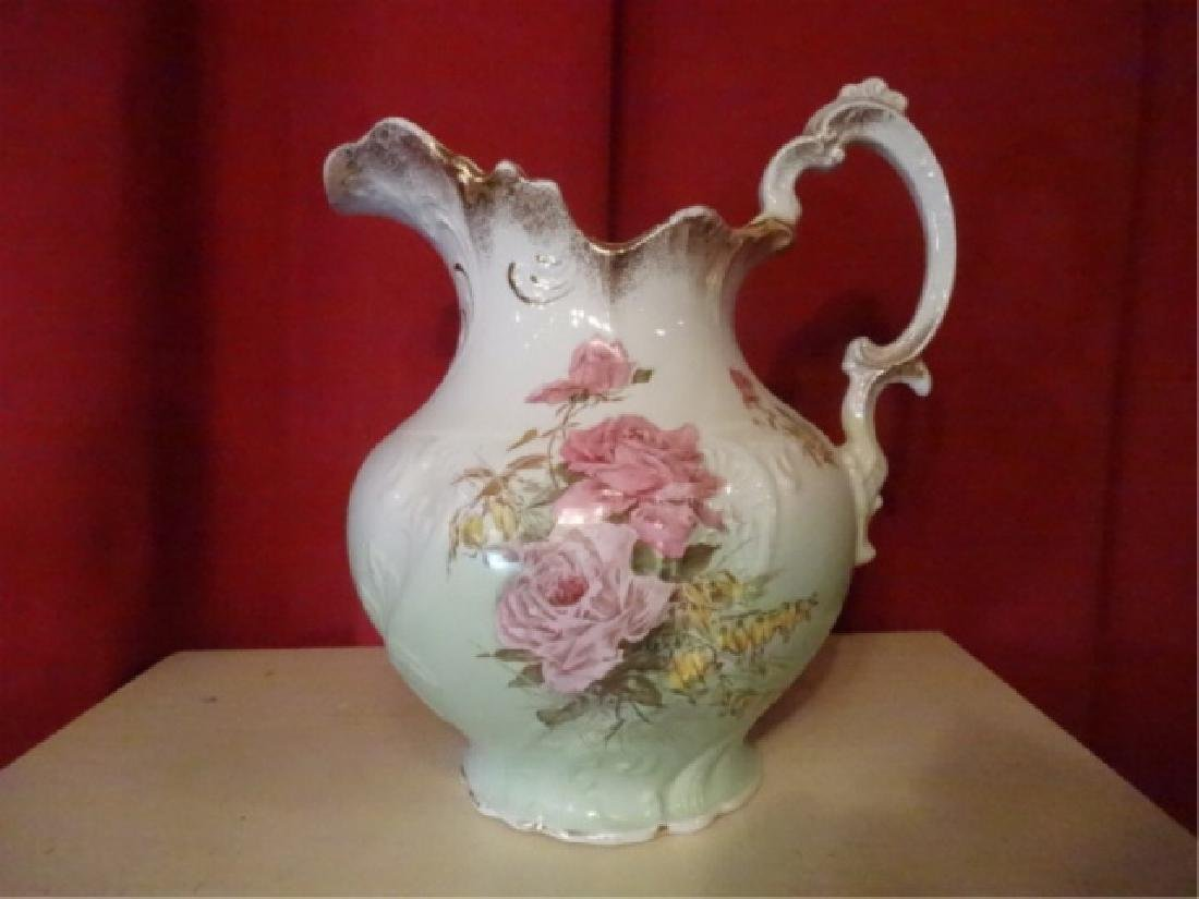 19TH C. ETRURIA MELLOR & CO PITCHER AND BOWL. FLORAL - 6