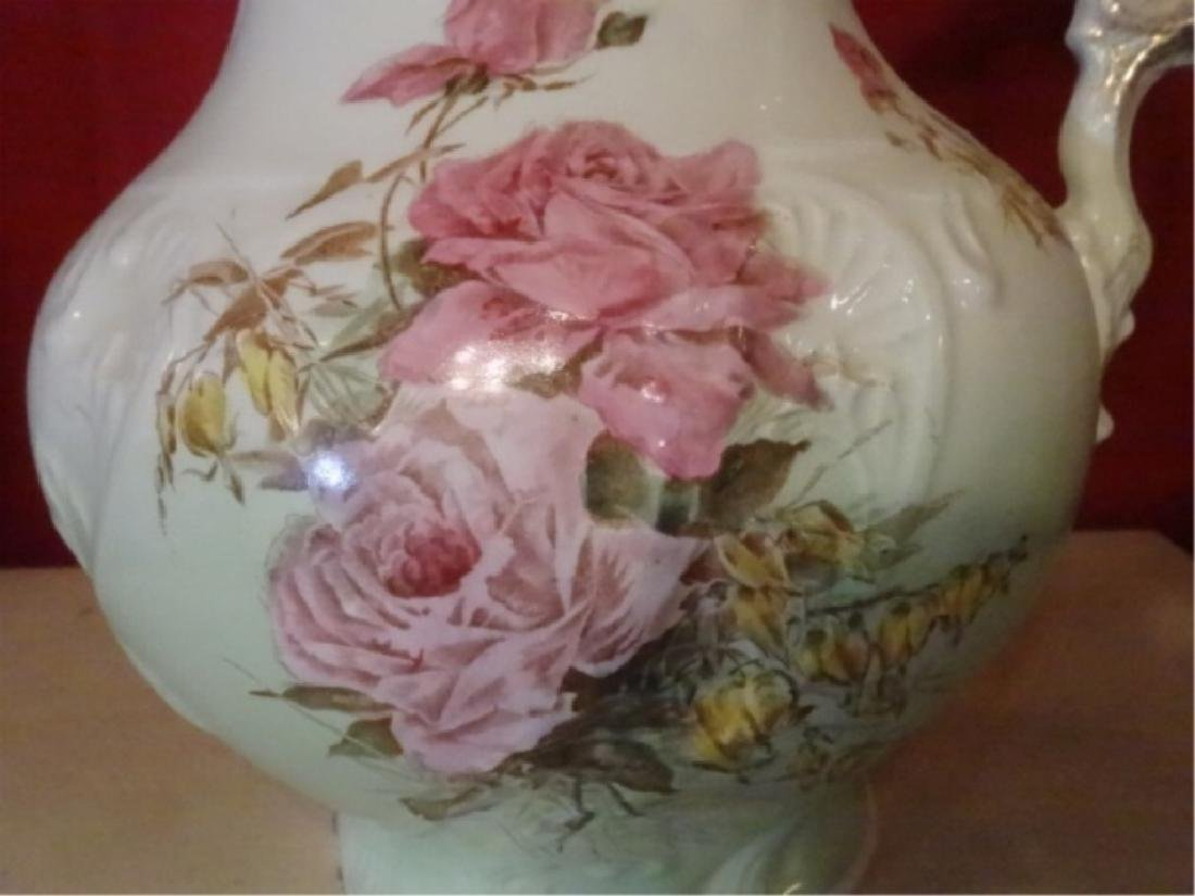 19TH C. ETRURIA MELLOR & CO PITCHER AND BOWL. FLORAL - 7