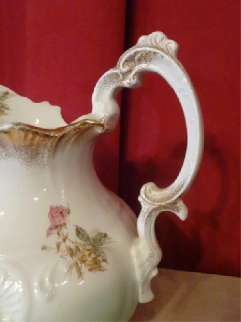 19TH C. ETRURIA MELLOR & CO PITCHER AND BOWL. FLORAL - 8