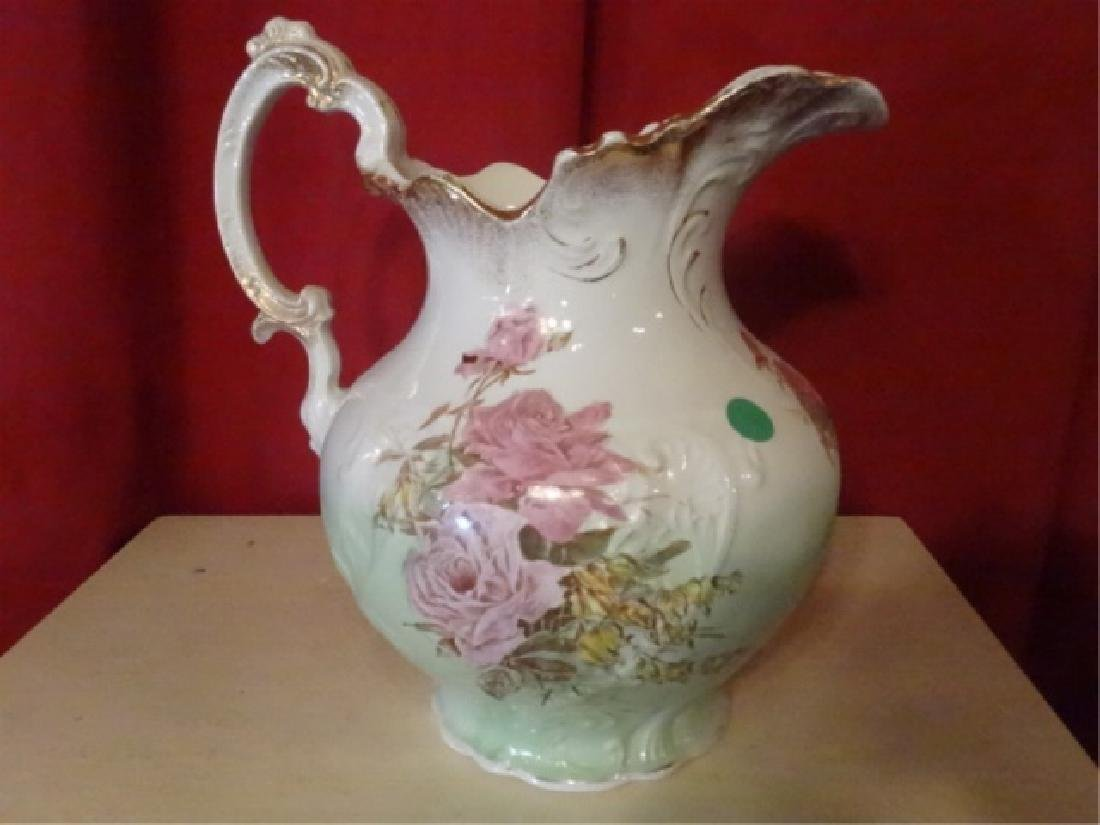 19TH C. ETRURIA MELLOR & CO PITCHER AND BOWL. FLORAL - 9