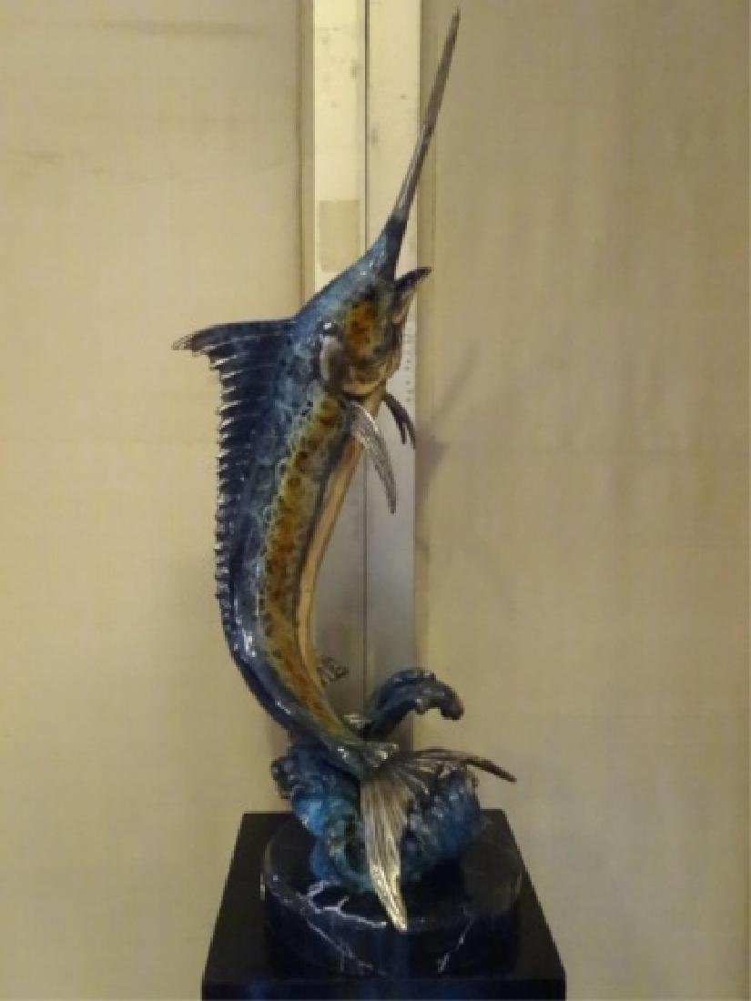 LARGE PATINATED BRONZE MARLIN SCULPTURE ON MARBLE BASE,