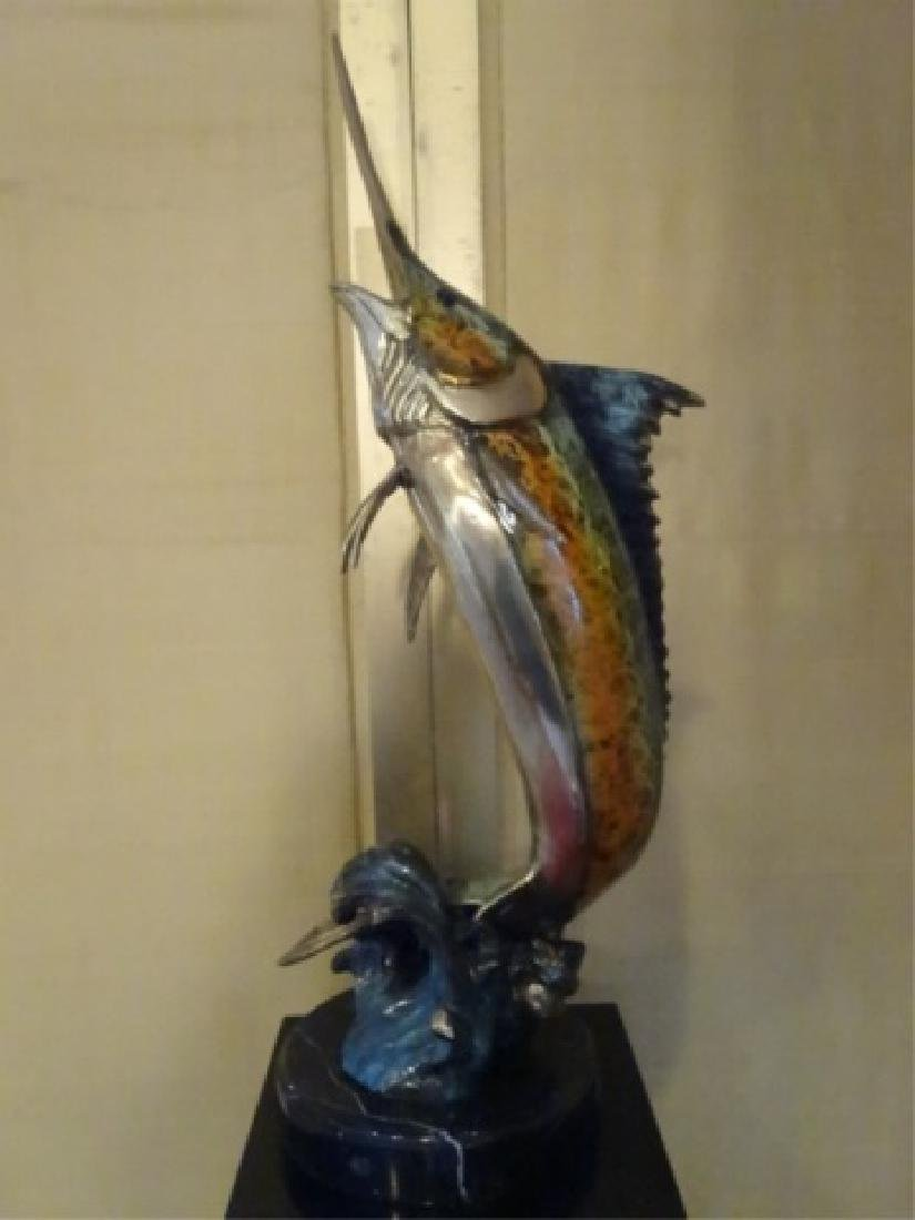 LARGE PATINATED BRONZE MARLIN SCULPTURE ON MARBLE BASE, - 2