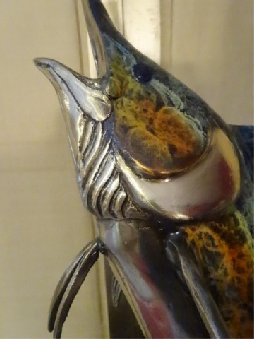 LARGE PATINATED BRONZE MARLIN SCULPTURE ON MARBLE BASE, - 3