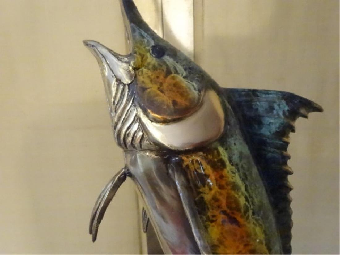 LARGE PATINATED BRONZE MARLIN SCULPTURE ON MARBLE BASE, - 4