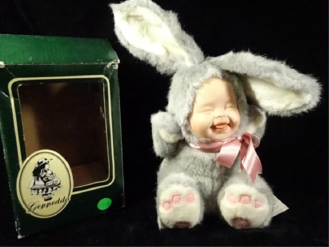 GEPPEDO PORCELAIN DOLL, BAILY BUNNY, WITH BOX, APPROX