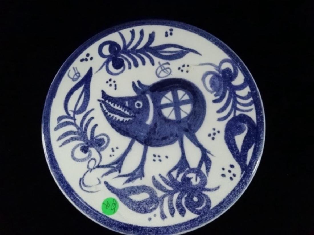 HAND PAINTED MAJOLICA PLATE WITH ANIMAL, MARKED PATERNA