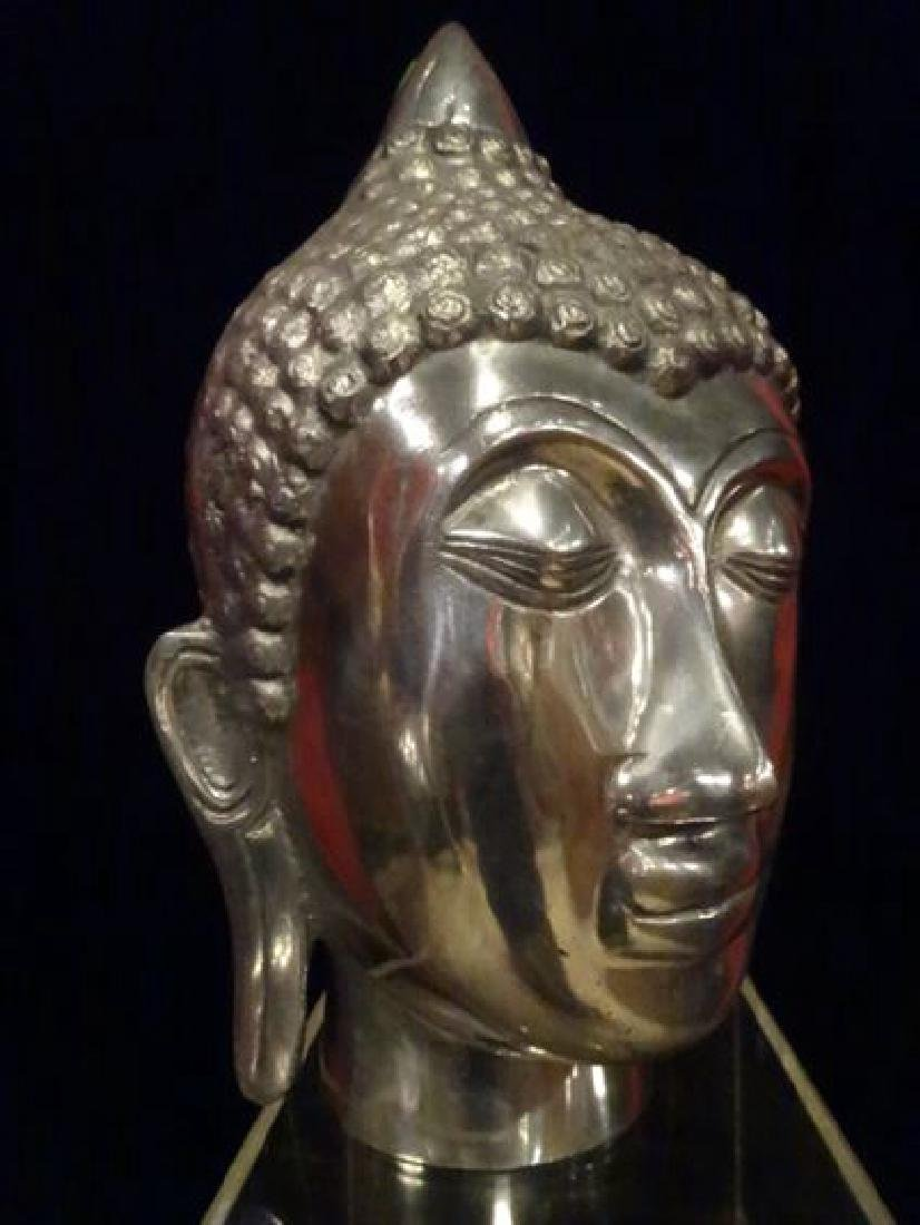 ALUMINUM BUDDHA HEAD SCULPTURE, #1 OF TWO AVAILABLE