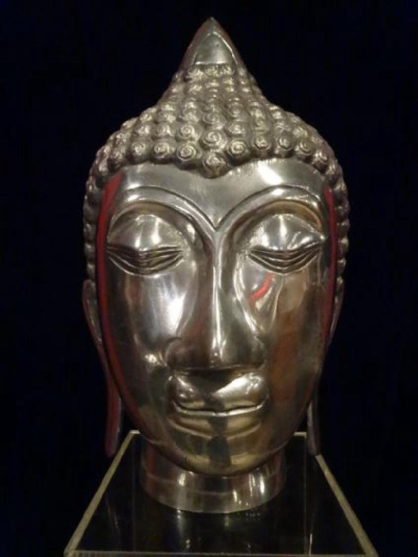 ALUMINUM BUDDHA HEAD SCULPTURE, #1 OF TWO AVAILABLE - 2