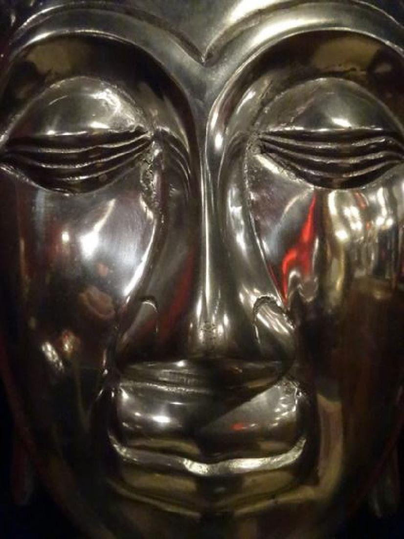 ALUMINUM BUDDHA HEAD SCULPTURE, #1 OF TWO AVAILABLE - 3