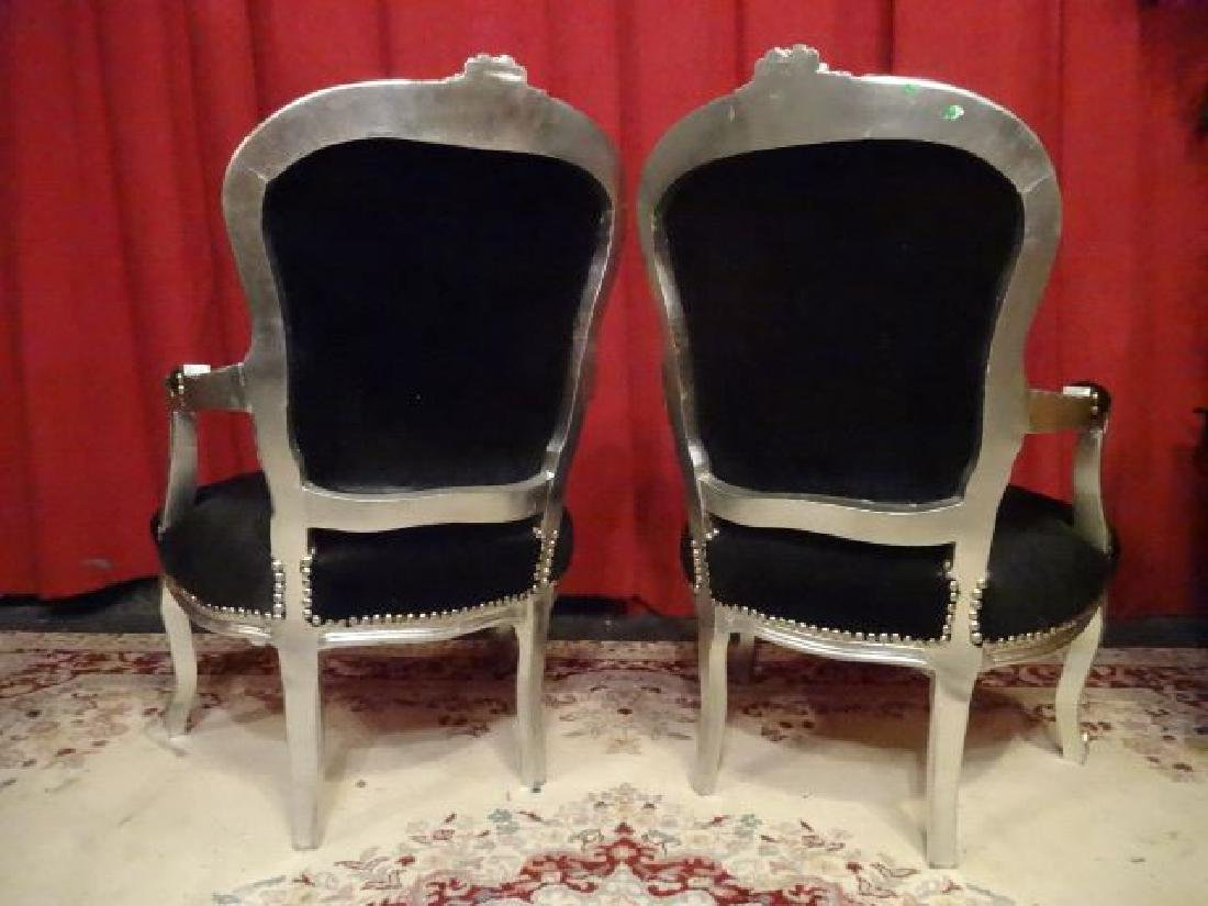PAIR LOUIS XV STYLE FAUTEUIL ARM CHAIRS, SILVER GILT - 8