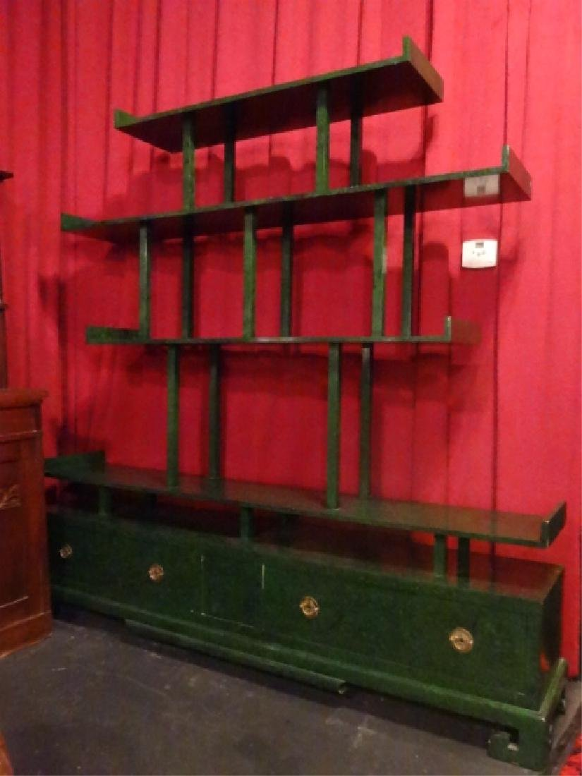 CHINESE WOOD BOOKCASE/ETAGERE, GREEN ENAMEL FINISH IN