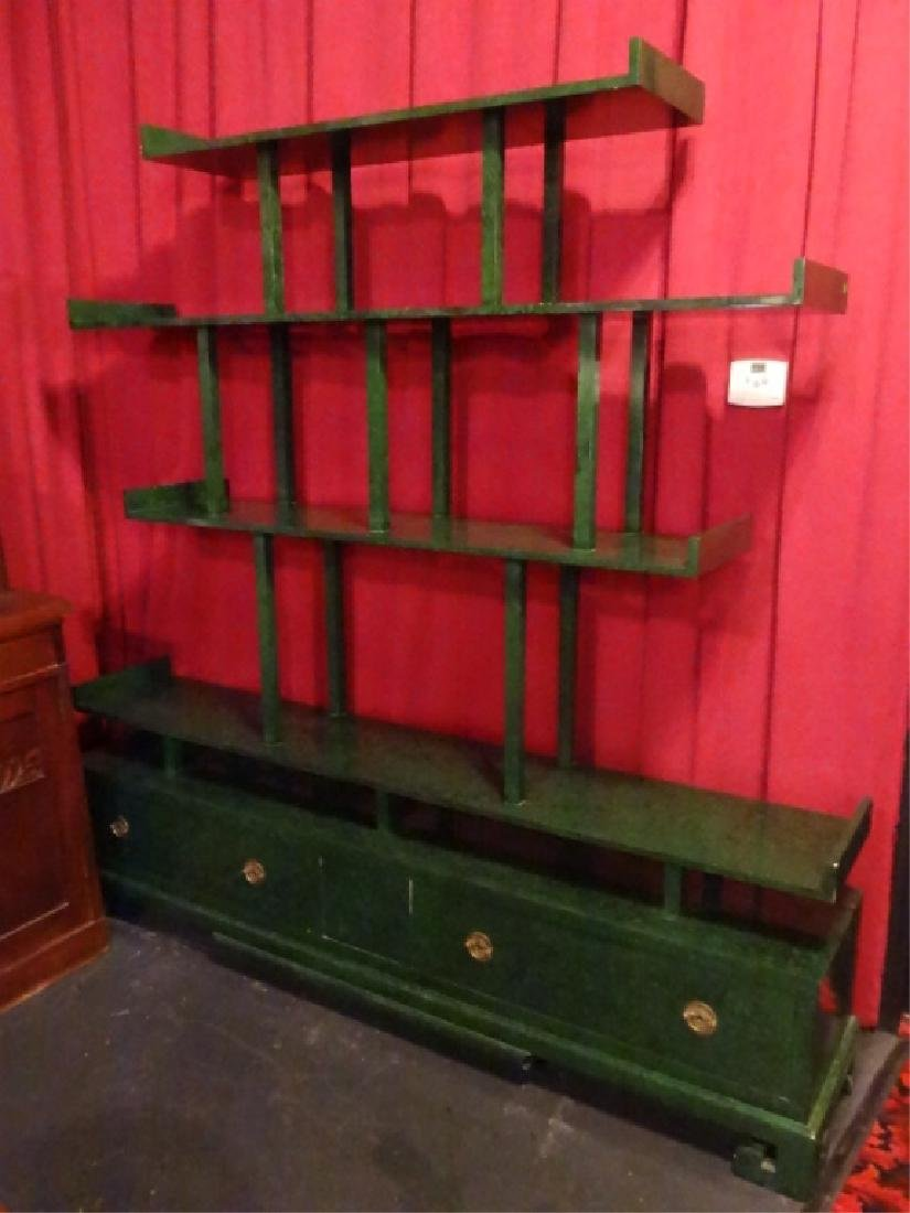 CHINESE WOOD BOOKCASE/ETAGERE, GREEN ENAMEL FINISH IN - 2