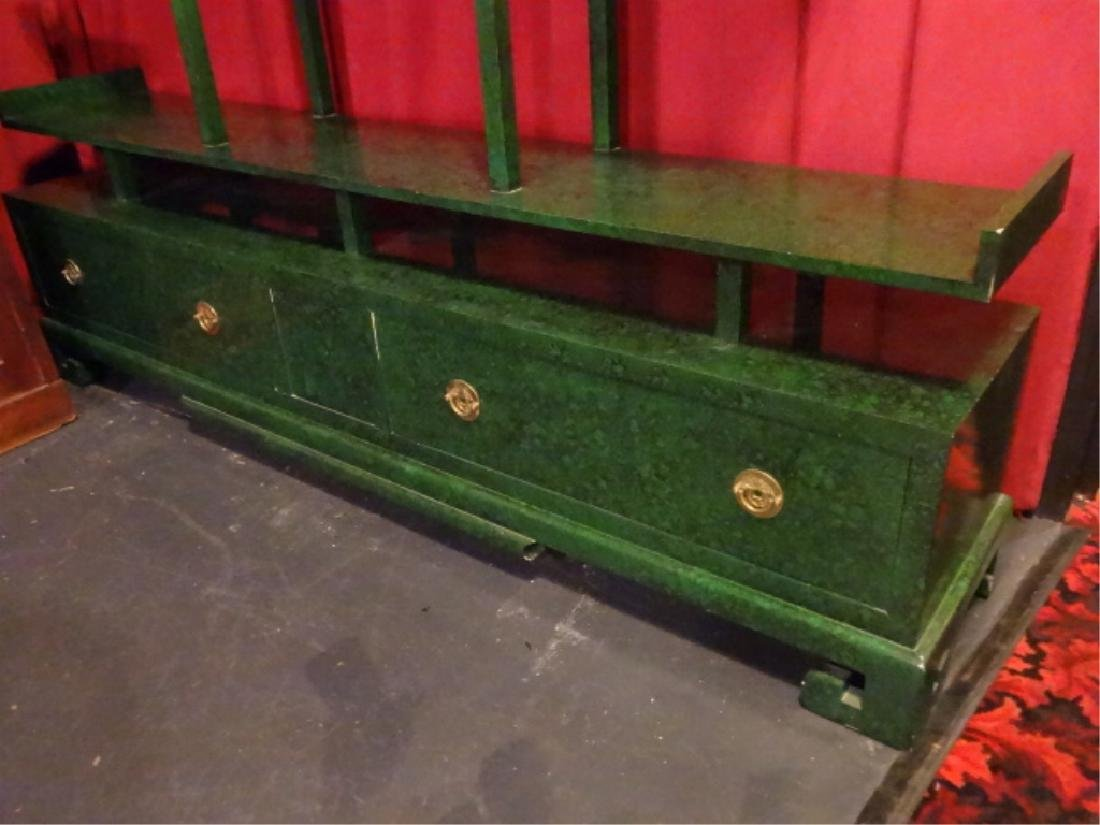 CHINESE WOOD BOOKCASE/ETAGERE, GREEN ENAMEL FINISH IN - 3