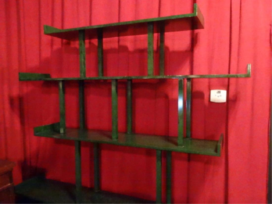 CHINESE WOOD BOOKCASE/ETAGERE, GREEN ENAMEL FINISH IN - 4