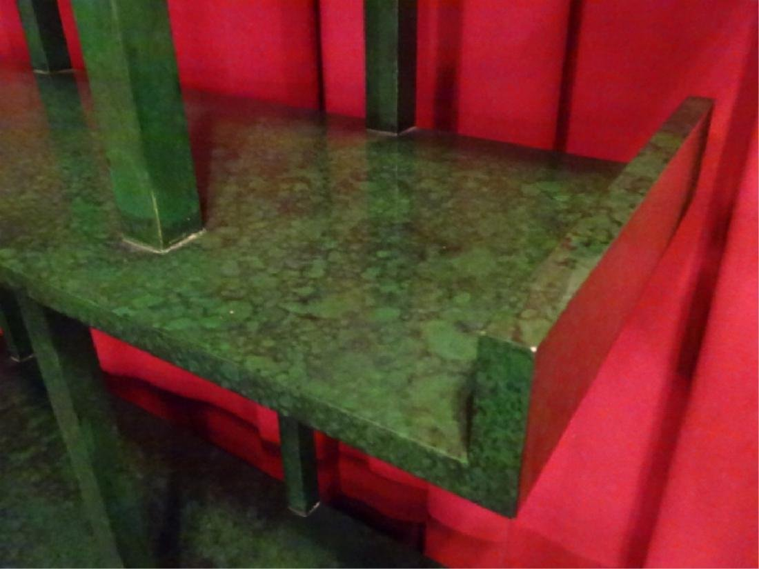 CHINESE WOOD BOOKCASE/ETAGERE, GREEN ENAMEL FINISH IN - 5