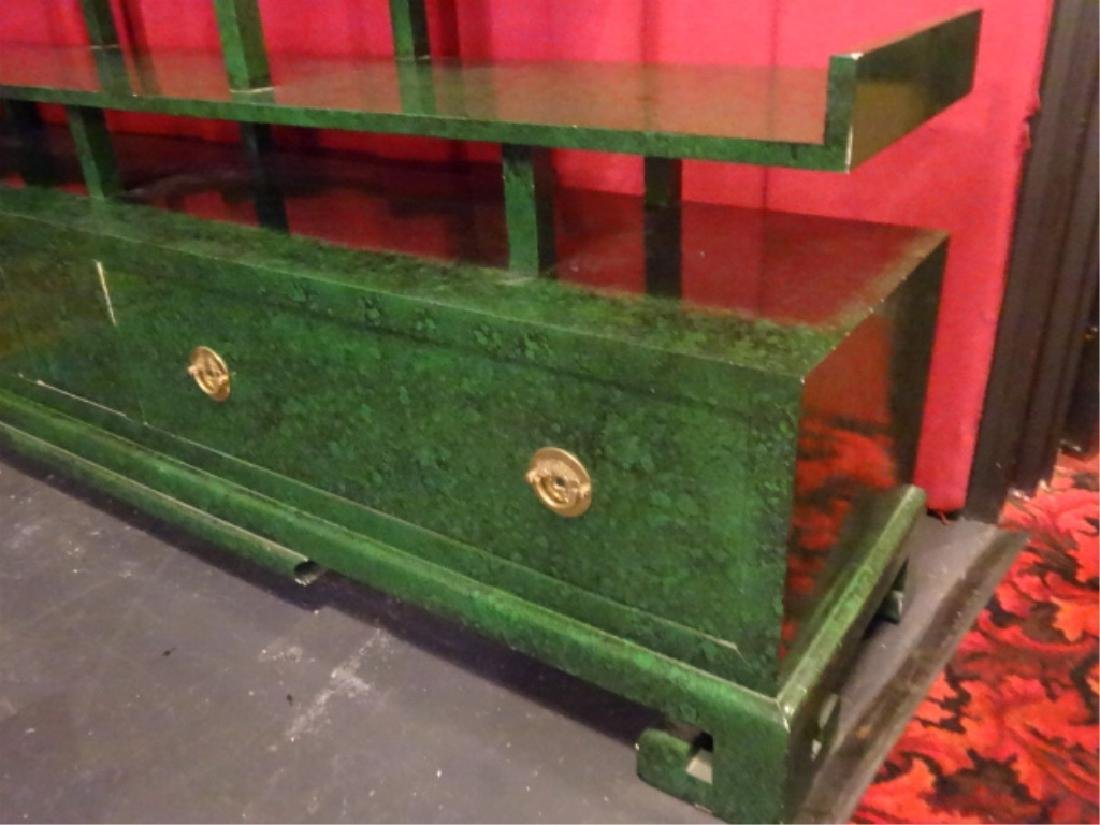CHINESE WOOD BOOKCASE/ETAGERE, GREEN ENAMEL FINISH IN - 6