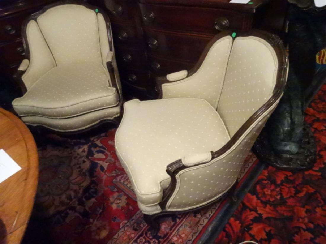 PAIR FRENCH STYLE ARM CHAIRS, NEUTRAL PALE GREEN