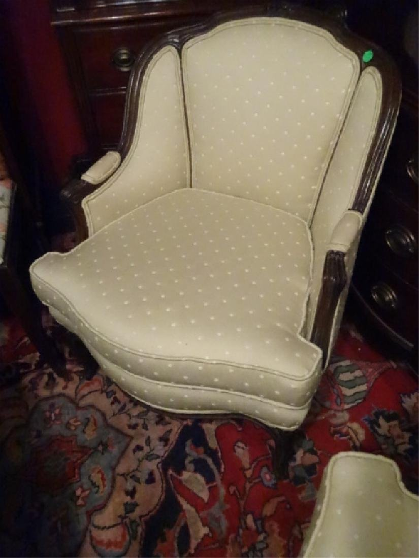 PAIR FRENCH STYLE ARM CHAIRS, NEUTRAL PALE GREEN - 2