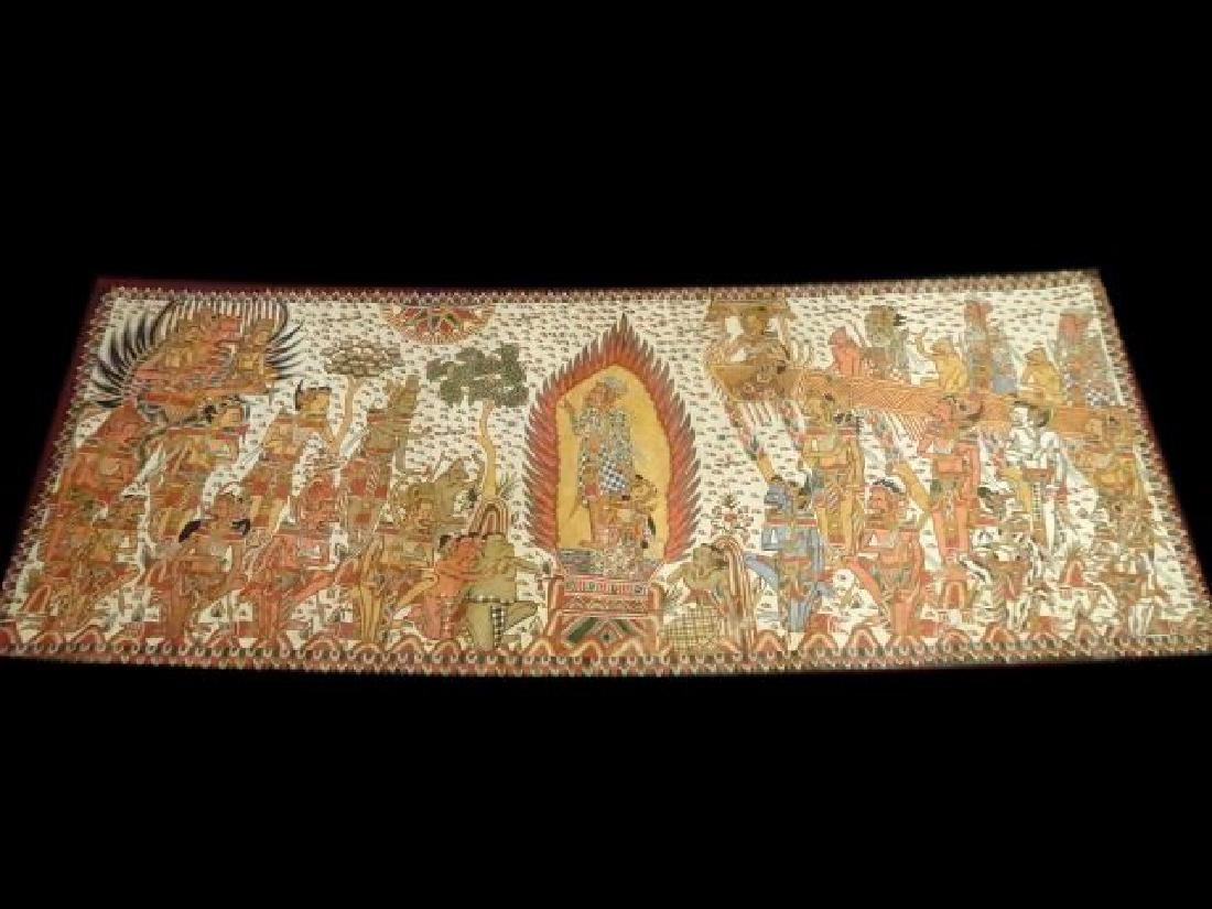LARGE INDIAN SOUTHEAST ASIAN PAINTING ON FABRIC,