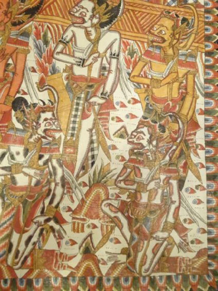 LARGE INDIAN SOUTHEAST ASIAN PAINTING ON FABRIC, - 9