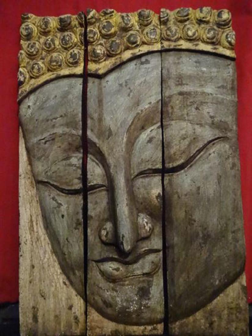 BUDDHA HEAD TRIPTYCH WALL SCULPTURE, CARVED WOOD, GILT
