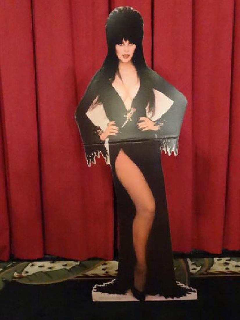 LARGE ELVIRA CARDBOARD CUTOUT FIGURE, ALMOST LIFESIZE,