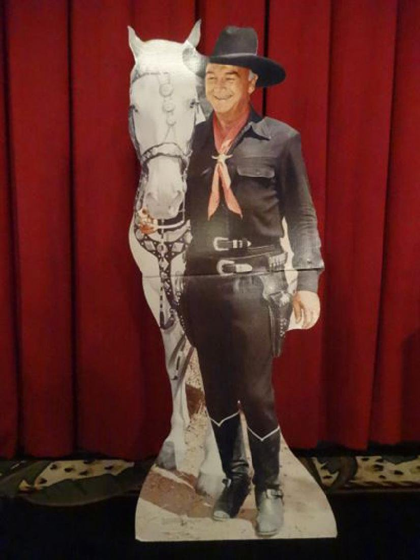 LARGE ROY ROGERS CARDBOARD CUTOUT FIGURE, WITH TRIGGER,