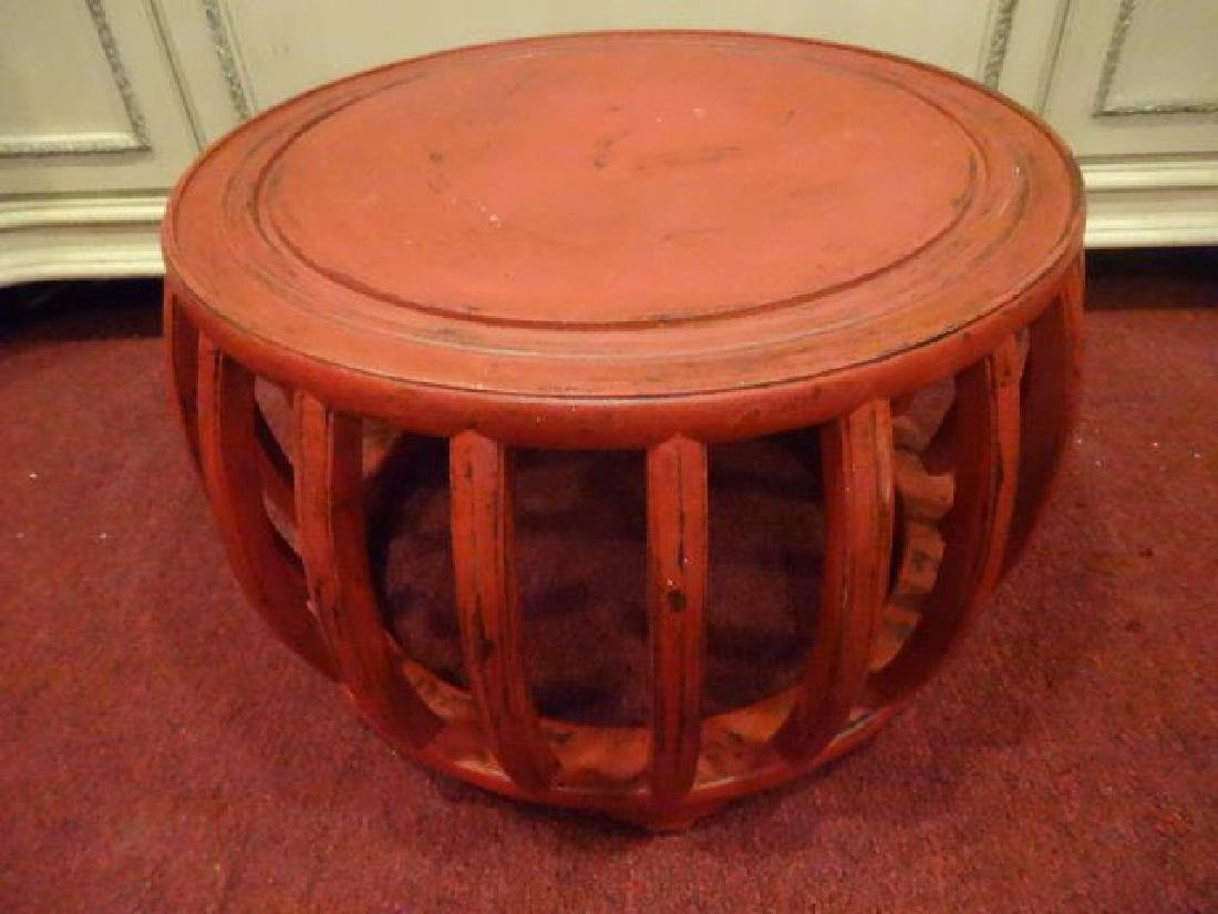 RED PAINTED ROUND TABLE, ASIAN MOTIF, LIGHTLY