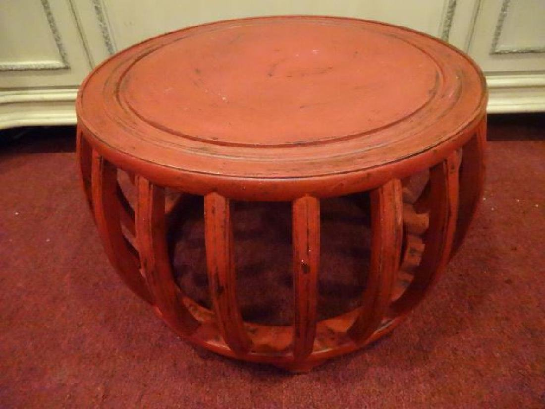 RED PAINTED ROUND TABLE, ASIAN MOTIF, LIGHTLY - 2