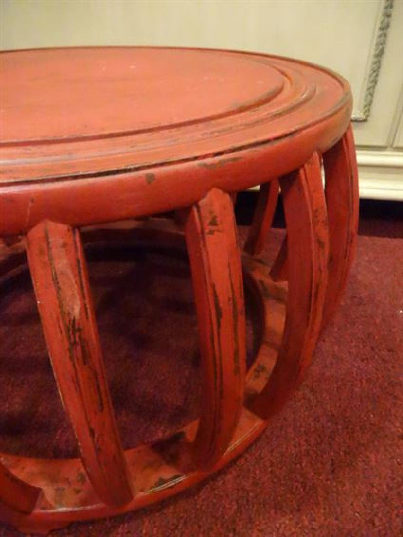 RED PAINTED ROUND TABLE, ASIAN MOTIF, LIGHTLY - 3