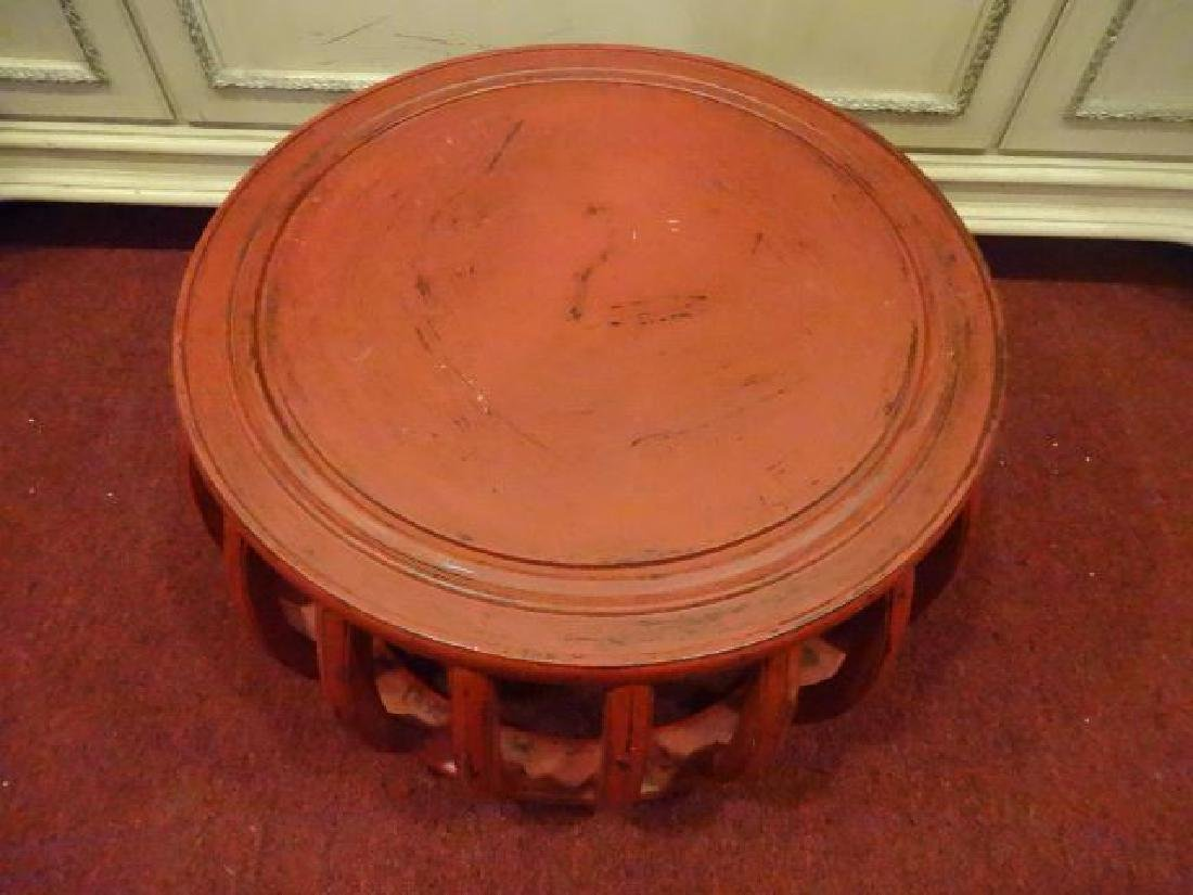 RED PAINTED ROUND TABLE, ASIAN MOTIF, LIGHTLY - 5